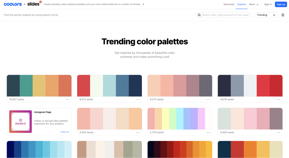 Trending color palettes give UX designers inspiration.Image credit Coolors.