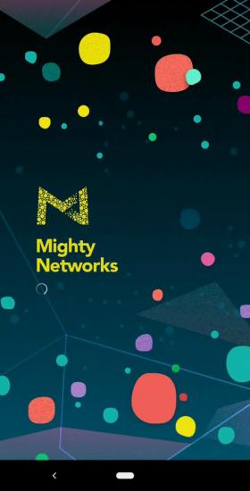 Mighty Networksのモバイルアプリのスプラッシュ画面にはカラフルな画像が表示される 出典: Invisionapp