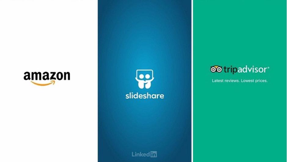 Amazon、Slideshare、TripAdvisorのスプラッシュ画面はブランドのアイデンティティを示している。 出典: Medium.com