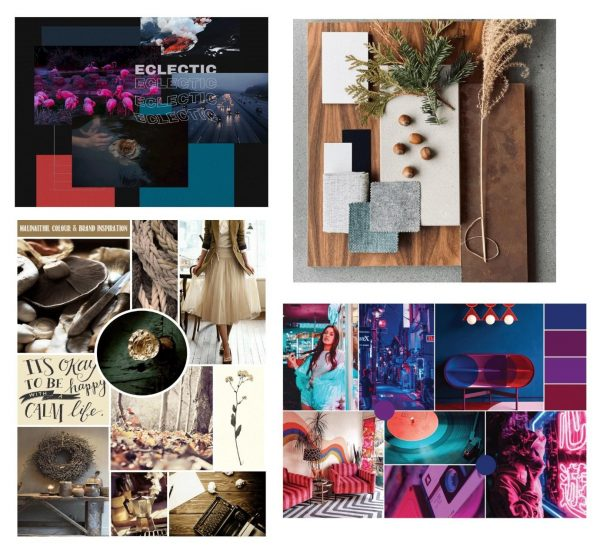 From left to right: Eclectic mood board. Image credit Elliot-Soul Green. Résidence Marlington⁠. Image credit design_societe. Personal project for brand inspiration. Image credit Malina Ithil. Mood board created for a new brand⁠. Image credit Raina D'Souza.