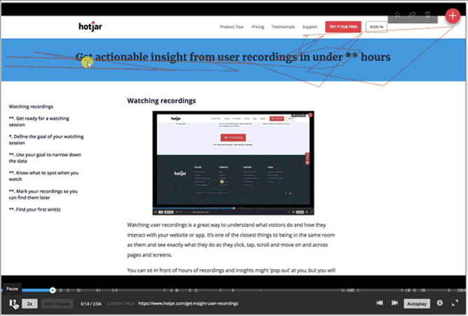 User session recording can help you understand how users interact with your product on site.