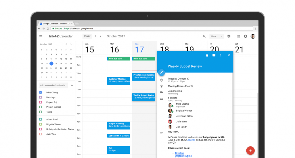 Google new calendar interface in 2017 changed the mental model for users.