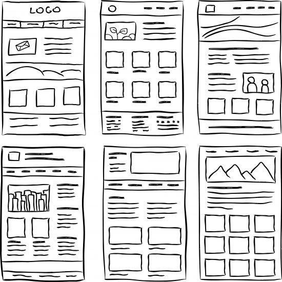 Examples of mobile wireframe sketches.