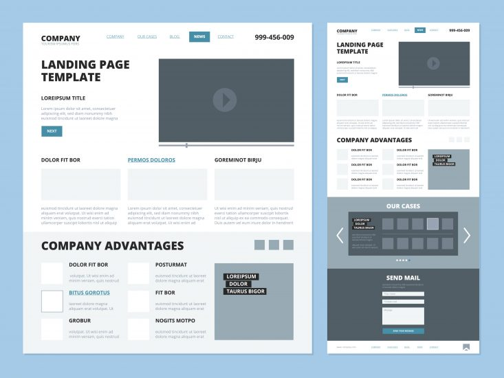 Example of website layout wireframe, including design elements like the footer, header, and navigation.