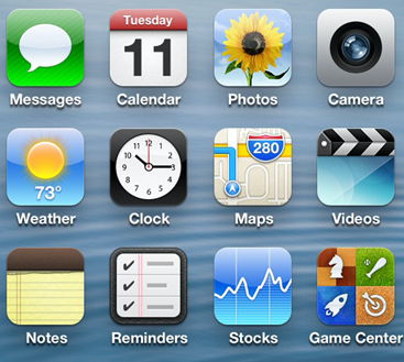 Examples of skeuomorphic icons on the Apple iOS interface.