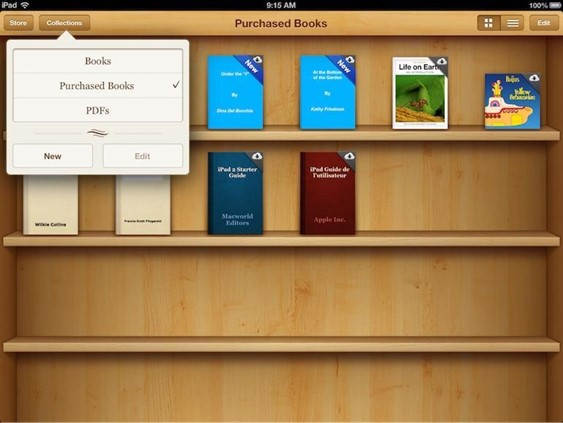 Apple iOS 6 used a skeuomorphic bookshelf that looked like a real physical bookshelf, with 3D shelves and wood textures.