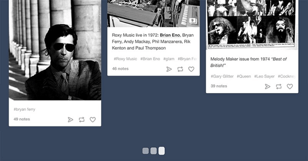 Subtle animation (such as Tumblr's loading indicator) tells the user that more content is loading.