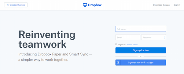 "The previous version of Dropbox's homepage features a good example of using negative space to make the primary CTA pop. The blue ""Sign up for free"" CTA stands out against the light blue of the background."