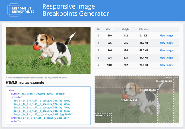 Responsive Image Breakpoints Generator helps you manage multiple sizes of images, enabling you to generate responsive image breakpoints interactively.