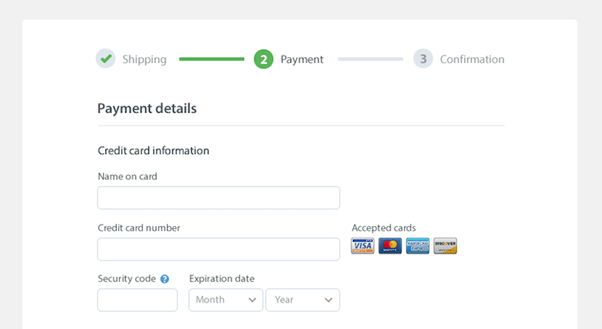 Example of a step-by-step checkout process.