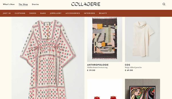 Product collection pages using soft pastel and earthy color schemes.