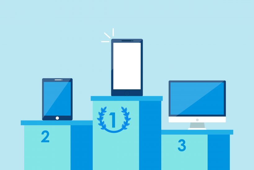 Illustration of three pillars showing first, second, and third place. The first place is mobile, second is tablet, and third is desktop.