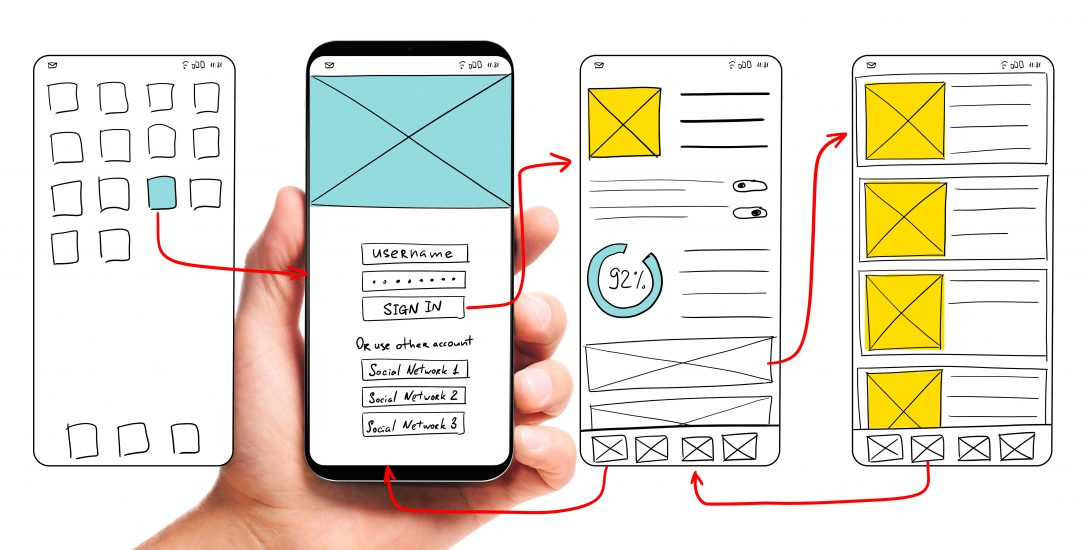 Image of a mobile wireframe with larger elements showing the concept of visual hierarchy.