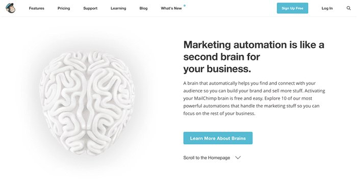 Mailchimp makes the most important information on a page ━ call-to-action buttons ━ stand out.
