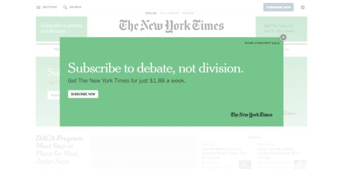 Don't. The first thing people see when they visit The New York Times website is a popup with promo ad.