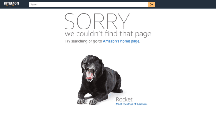 Amazon's 404 page showcases the dogs of Amazon.