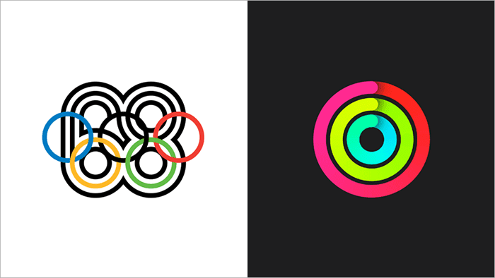 Mexico68 Olympic logo and Apple Activity iOS branding