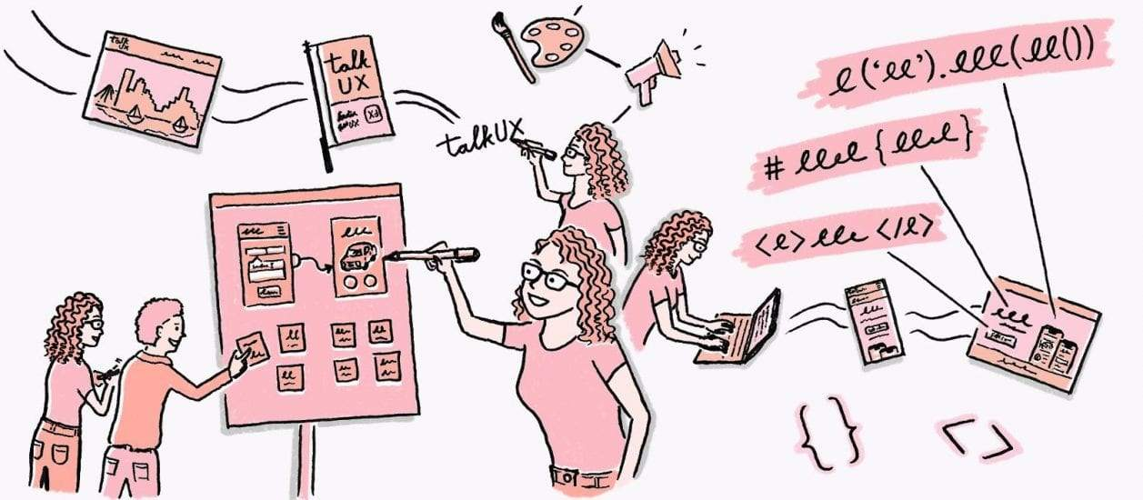 illustration of women designing and coding