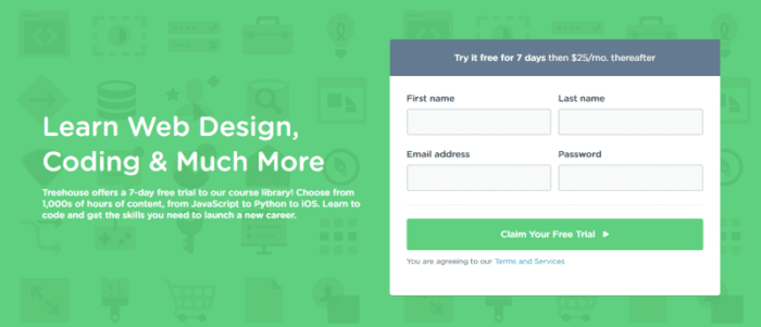 "Do. Make it clear what will happen when users click a UI element. ""Claim Your Free Trial"" is a clear label for a sign up form. Credited to Treehouse"