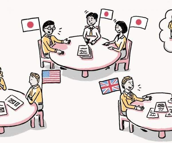 People from different countries working in groups
